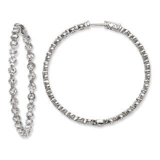 Versil Sterling Silver Cubic Zirconia 54-stones Round Hoop Earrings