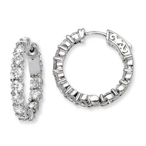 Versil Sterling Silver Cubic Zirconia Hinged Hoop Earrings