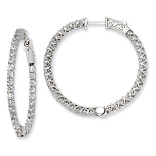 Versil Sterling Silver Cubic Zirconia Hinged Hoop Earrings