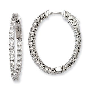 Versil Sterling Silver Cubic Zirconia Hinged Oval Hoop Earrings