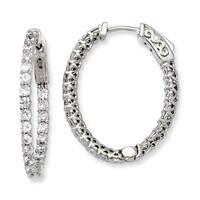 Versil Sterling Silver Cubic Zirconia Hinged Oval Hoop Earrings