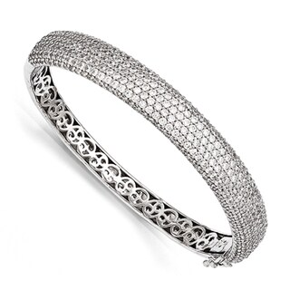 Versil Sterling Silver Pave Cubic Zirconia Hinged Bangle