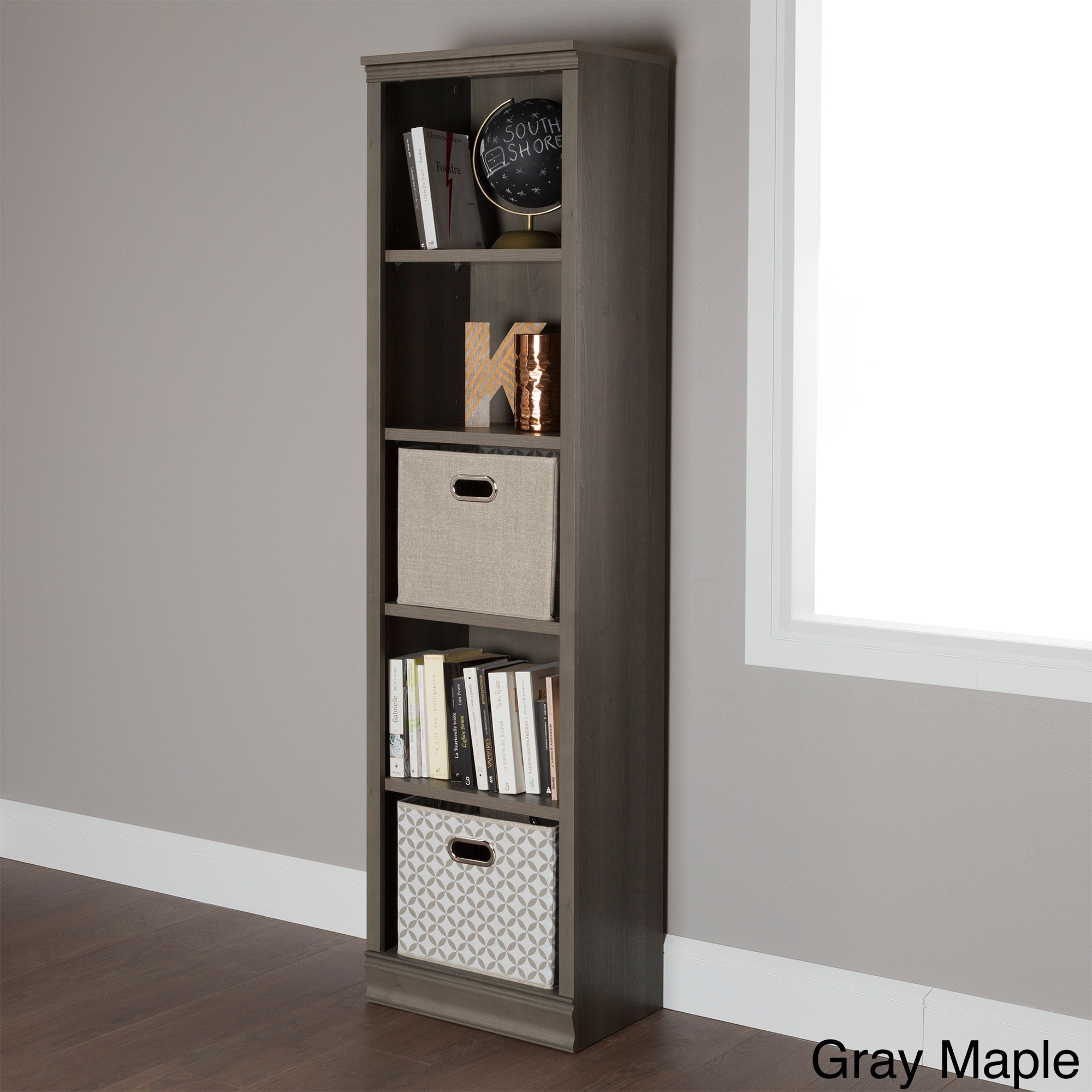 South Shore Morgan 5 Shelf Narrow Bookcase