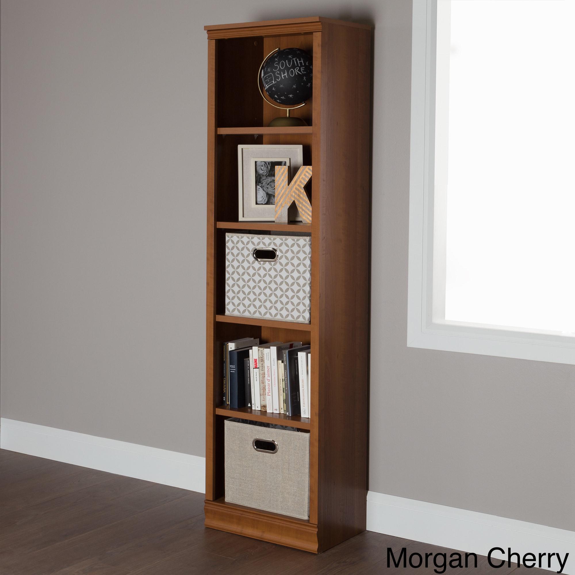 South Shore Morgan 5 Shelf Narrow Bookcase