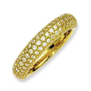 Versil Yellow Gold over Silver 113-stone Cubic Zirconia Ring
