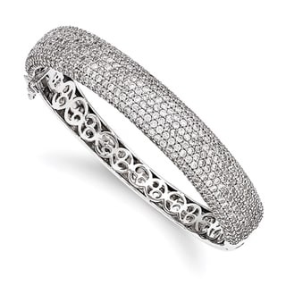 Versil Sterling Silver Pave Cubic Zirconia Bangle