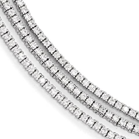 Sterling Silver Cubic Zirconia 3 Strand Bracelet by Versil
