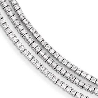 Versil Sterling Silver Cubic Zirconia 3 Strand Bracelet