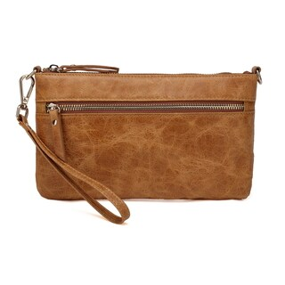 Vicenzo Leather Maci Distressed Leather Crossbody/Clutch Handbag (2 options available)