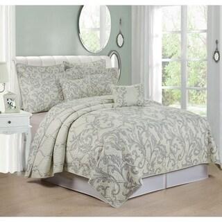 Serenta Grey Marisol Printed Microfiber 7-piece Bedspread Quilt Set