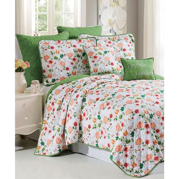 Serenta  English Garden Printed Microfiber 7-piece Bedspread Quilt Set