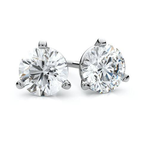 14k White Gold 1/2ct TDW 3-prong Martini Diamond Stud Earrings