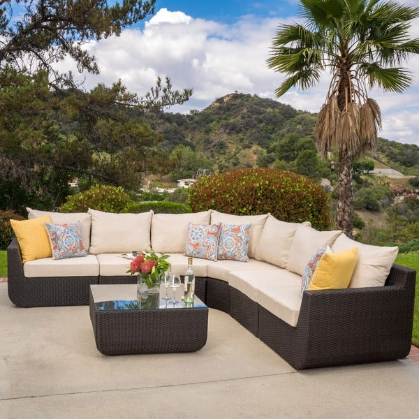 Perfect Carmel Outdoor 7 Piece Outdoor Sectional Sofa Set With Cushions By  Christopher Knight Home