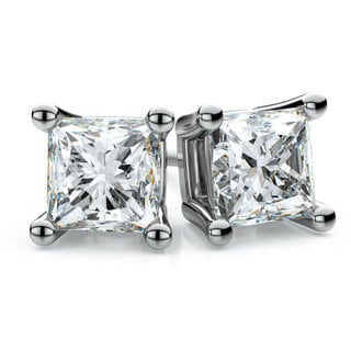 Platinum 1/2ct TDW 4-prong Princess Diamond Stud Earrings (F-G, VS1-VS2)