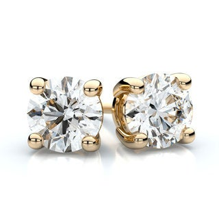 18k Yellow Gold 1/3ct TDW 4-prong Round Diamond Stud Earrings (F-G, VS1-VS2)