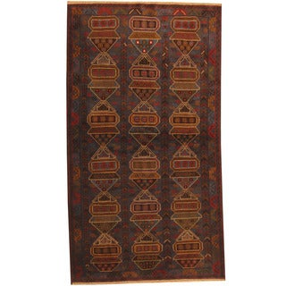 Herat Oriental Afghan Hand-knotted 1960s Semi-antique Tribal Balouchi Wool Rug (3'7 x 6'7)