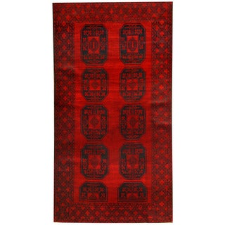 Herat Oriental Afghan Hand-knotted 1960s Semi-antique Tribal Balouchi Wool Rug (3'6 x 7')