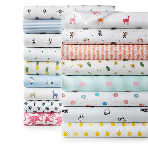 Poppy & Fritz Cotton Percale Printed Bed Sheet Sets