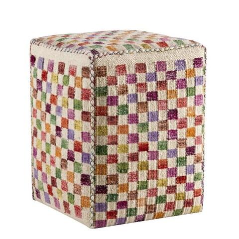 M.A.Trading Handmade Small Box White/ Multi 20 x 16 x 16-inch Pouf (India)