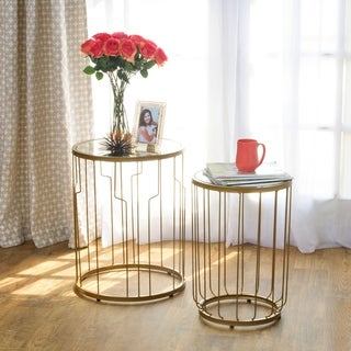 HomePop Gold Mirrored Top Nesting Table Set