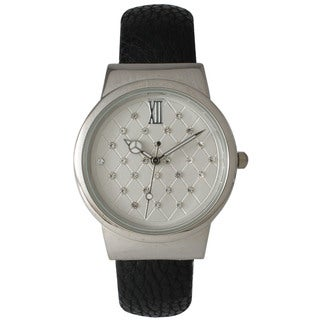 Olivia Pratt Women's Leather Cuff Geometric Rhinestone Dial Watch