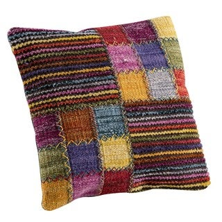 M.A.Trading Hand-woven Khema4 Brown/Multi Pillow (16-inch x 16-inch)