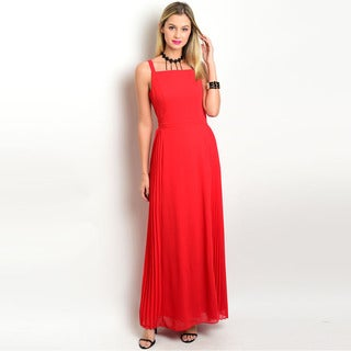 Shop the Trends Women's Sleeveless Gown with Square Neckline and Empire Waist