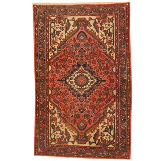 Herat Oriental Persian Hand-knotted 1940s Semi-antique Hamadan Wool Rug (4'7 x 7')