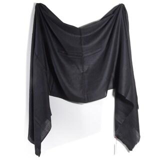 Davidoff Black Pashmina Diamond Weave Scarf