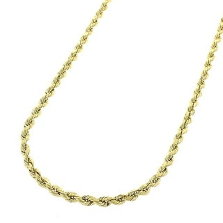 """14k Yellow Gold 2mm Hollow Rope Diamond-Cut Link Twisted Chain Necklace 16"""" - 24"""""""