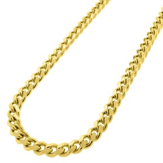 Yellow Gold over Silver 5mm Solid Miami Cuban Curb Link Necklace