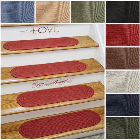 Rhody Rug Woolux Wool Braided Reversible Stair Treads (Set of 4) - 8 x 28