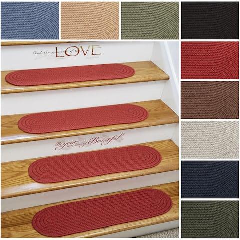 "Rhody Rug Woolux Wool Braided Reversible Stair Treads (Set of 4) - 8"" x 28"" Oval"