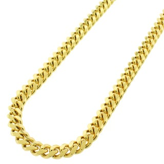 Yellow Gold over Silver 6.5mm Solid Miami Cuban Curb Link Chain