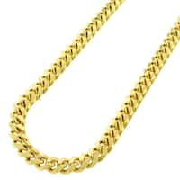 Sterling Silver 7mm Miami Cuban Curb Link Thick Solid 925 Yellow Gold Plated Chain Necklace 24 - 32""