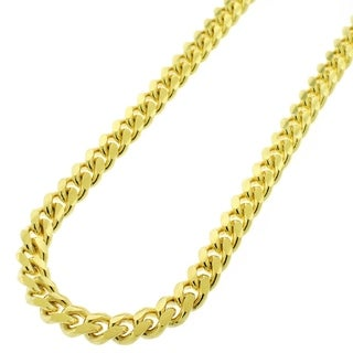 Yellow Gold over Silver 7.5mm Solid Miami Cuban Curb Link Necklace
