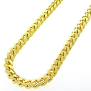 Yellow Gold over Silver 9mm Solid Miami Cuban Curb Link Necklace