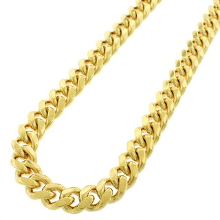 Yellow Gold over Silver 12mm Solid Miami Cuban Curb Link Chain