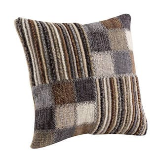 M.A. Trading Hand-woven Khema4 Light Grey Pillow (18-inch x 18-inch)