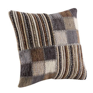 M.A. Trading Hand-woven Khema4 Light Grey Pillow (18-inch x 18-inch) (India)