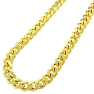 Yellow Gold over Silver 10.5mm Solid Miami Cuban Curb Link Necklace