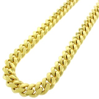 Yellow Gold over Silver 14mm Solid Miami Cuban Curb Link Chain