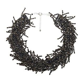 Black Crystal Beaded Fringe Statement Collar Necklace (Thailand)