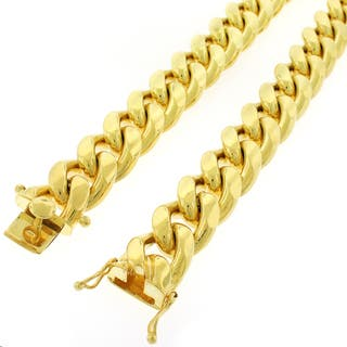 Yellow Gold over Silver 17.5mm Solid Miami Cuban Curb Link Necklace (Option: 34 Inch)|https://ak1.ostkcdn.com/images/products/11601488/P18539975.jpg?impolicy=medium