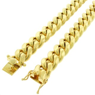 Yellow Gold over Silver 15.5mm Solid Miami Cuban Curb Link Chain