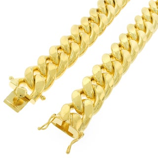 Yellow Gold over Silver 20mm Solid Miami Cuban Curb Link Chain