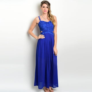 Shop the Trends Women's Sleeveless Gown with Lace Bodice and Semi-Sweetheart Neckline