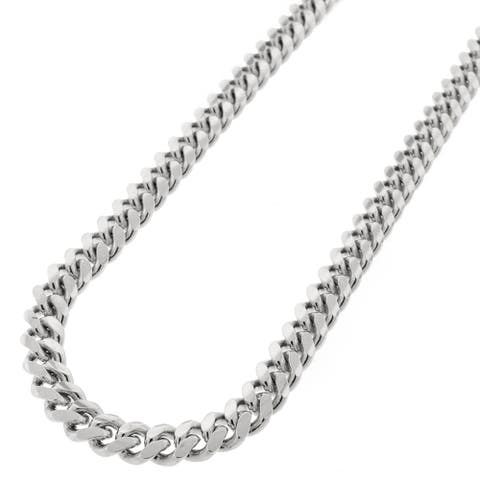 """Sterling Silver 6.5mm Miami Cuban Curb Link Thick Solid 925 Rhodium Chain Necklace 24"""" - 32"""""""