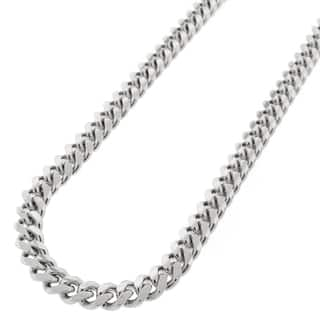 Sterling Silver 7mm Solid Miami Cuban Curb Link Rhodium-plated Necklace|https://ak1.ostkcdn.com/images/products/11601495/P18539980.jpg?impolicy=medium