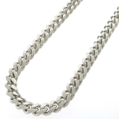 """Sterling Silver 9mm Miami Cuban Curb Link Thick Solid 925 Rhodium Chain Necklace 24"""" - 32"""""""